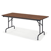 "Virco® Laminate Folding Table - 30""x60"" - Black with Walnut Top"