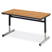 "Virco® Height Adjustable Training Table - 24""x36"", Black Frame with Oak Top"