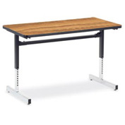 "Virco® 872448 Height Adjustable Table 24""x48"", Black Frame with Oak Top"