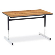 "Virco® 873048 Height Adjustable Table 30""x48"", Black Frame with Oak Top"