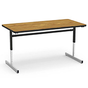 "Virco® 873060 Height Adjustable Table 30""x60"", Black Frame with Oak Top"