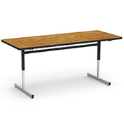 "Virco® 873072 Height Adjustable Table 30""x72"", Black Frame with Oak Top"