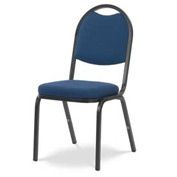 Virco® 8915 Crowned Seat Round Back Stacking Chair, Black Frame/Blue Fabric - Pkg Qty 4