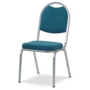Virco® 8915 Crowned Seat Round Back Stacking Chair, Gray Frame/Blue Fabric - Pkg Qty 4