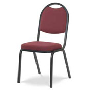 Virco® 8915 Crowned Seat Round Back Stacking Chair, Black Frame/Red Fabric - Pkg Qty 4