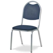 Virco® 8917 Domed Seat Round Back Stacking Chair, Chrome Frame/Blue Vinyl - Pkg Qty 4