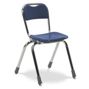 Virco® N314 Telos® Stacking Chair, Blue With Chrome Frame - Pkg Qty 5