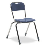 Virco® N316 Telos® Stacking Chair, Blue With Chrome Frame - Pkg Qty 4