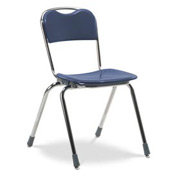 Virco® N318 Full-Sized Telos® Stacking Chair, Blue With Chrome Frame - Pkg Qty 4
