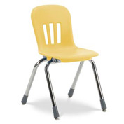 "Virco® N914 The Metaphor® Stacking Chair 14"", Yellow With Chrome - Pkg Qty 5"