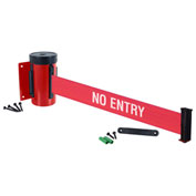 "Wall Mount Retracta-Belt® 4-3/4""H Red, 10'L Red/White Belt, ""NO ENTRY"""