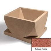 Wausau WS107 Square Outdoor Planter - Weatherstone Brick Red 30x30x18