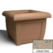 Wausau SL407 Square Outdoor Planter - Weatherstone Gray 38x38x30