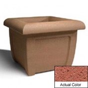 Wausau SL407 Square Outdoor Planter - Weatherstone Brick Red 38x38x30