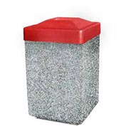 "Concrete Waste Receptacle W/Red Plastic Pitch In Top - 25"" X 25"" Tan"