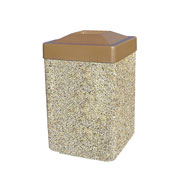"Concrete Waste Receptacle W/Brown Plastic Pitch In Top - 25"" X 25"" Tan"