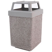 "Concrete Waste Receptacle W/Gray Plastic 4 Way Top - 25"" X 25"" Gray/Tan"