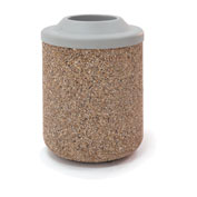 "Concrete Waste Receptacle W/Gray Plastic Pitch In Top - 26"" Dia x 37"" Tan"