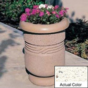 Wausau TF4027 Round Outdoor Planter - Weatherstone White 26x24
