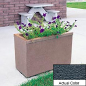 Wausau TF4155 Rectangular Outdoor Planter - Weatherstone Charcoal 36x18x25