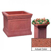 Wausau TF4184 Square Outdoor Planter - Weatherstone Brick Red 14x14x24