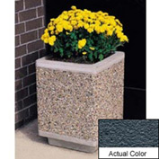 Wausau TF4185 Square Outdoor Planter - Weatherstone Charcoal 18x18x24