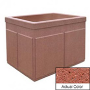 Wausau TF4202 Rectangular Outdoor Planter - Weatherstone Brick Red 48x36x36