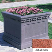 Wausau TF4236 Square Outdoor Planter - Weatherstone Brick Red 24x24x20