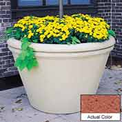 Wausau TF4305 Round Outdoor Planter - Weatherstone Brick Red 60x38