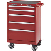 "Waterloo PCA-265RD  Professional Series 5-Drawer Cabinet Ball-Bearing 26-1/2""W x 18""D x 41"", Red"