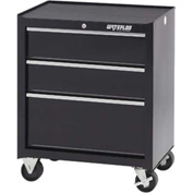 "Waterloo SCA-263BK-B Shop Series 3-Drawer Cabinet Ball-Bearing 26-1/2""W x 18""D x 32""H, Black"