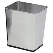 "Rectangular Wastebasket, Stainless Steel, 7.25 Gal., 13.5""Dia X 15.5""H X 11""D - Pkg Qty 3"