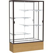 "Reliant Display Case Autumn Oak Base, Dark Bronze Frame, Mirror Back 48""W x 72""H"