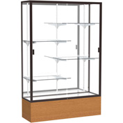 "Reliant Display Case Carmel Oak Base, Dark Bronze Frame, Mirror Back 48""W x 72""H"