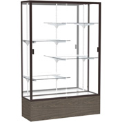 "Reliant Display Case Walnut Vinyl Base, Dark Bronze Frame, Mirror Back 48""W x 72""H"