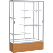 "Reliant Display Case Carmel Oak Base, Satin Frame, Mirror Back 48""W x 16""D x 72""H"