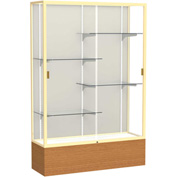 "Reliant Display Case Carmel Oak Base, Gold Frame, Fabric Back 48""W x 16""D x 72""H"