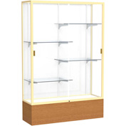 "Reliant Display Case Carmel Oak Base, Gold Frame, White Back 48""W x 16""D x 72""H"