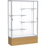 "Reliant Display Case Autumn Oak Base, Satin Frame, White Back 48""W x 16""D x 72""H"