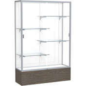 "Reliant Display Case Walnut Vinyl Base, Satin Frame, White Back 48""W x 16""D x 72""H"