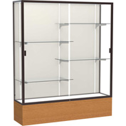 "Reliant Display Case Carmel Oak Base, Dark Bronze Frame, Fabric Back 60""W x 72""H"