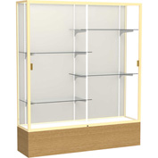 "Reliant Display Case Autumn Oak Base, Gold Frame, Fabric Back 60""W x 16""D x 72""H"