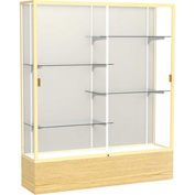 "Reliant Display Case Light Oak Vinyl Base, Gold Frame, Fabric Back 60""W x 16""D x 72""H"