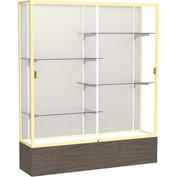 "Reliant Display Case Walnut Vinyl Base, Gold Frame, Fabric Back 60""W x 16""D x 72""H"