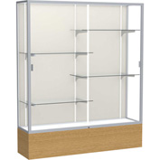 "Reliant Display Case Autumn Oak Base, Satin Frame, Fabric Back 60""W x 16""D x 72""H"