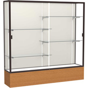 "Reliant Display Case Carmel Oak Base, Dark Bronze Frame, Fabric Back 72""W x 72""H"