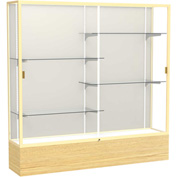 "Reliant Display Case Light Oak Vinyl Base, Gold Frame, Fabric Back 72""W x 16""D x 72""H"