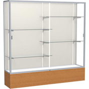 "Reliant Display Case Carmel Oak Base, Satin Frame, Fabric Back 72""W x 16""D x 72""H"