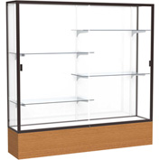 "Reliant Display Case Carmel Oak Base, Dark Bronze Frame, White Back 72""W x 72""H"