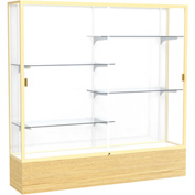 "Reliant Display Case Light Oak Vinyl Base, Gold Frame, White Back 72""W x 16""D x 72""H"